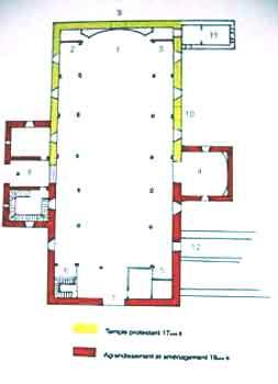 plan du temple de Pons au XVIIème siècle
